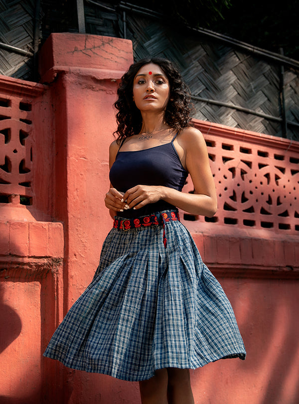 Indigo Checks Malkha Knee Length Skirt