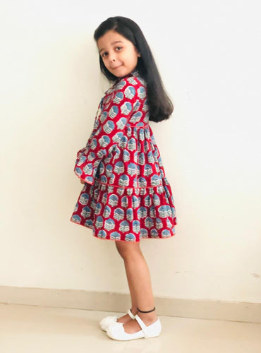 Kids Maroon Bagru Hand Block Layered Dress