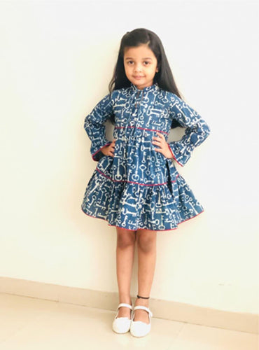 Kids Indigo Hand Block Layered Dress