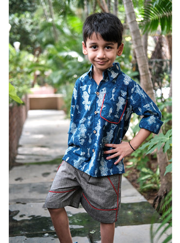 Kids Grey Handloom Short Pants
