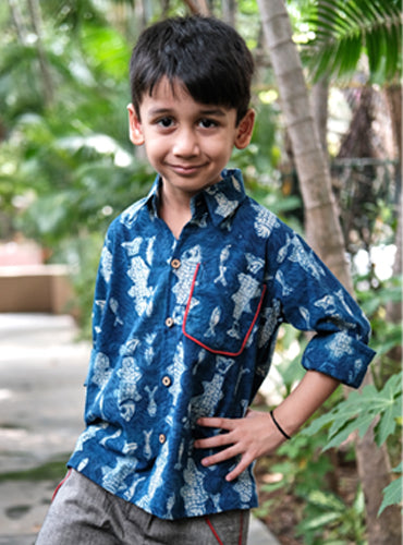 Kids Indigo Fish Print Shirt