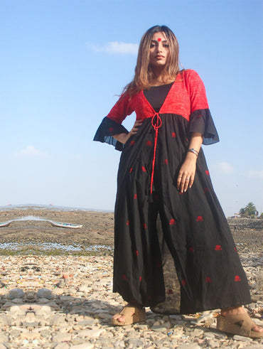 Black Cape Jacket With Flared Sleeves in Jamdani Fabric
