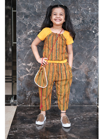 Kids Yellow Ajrakh Jumpsuit