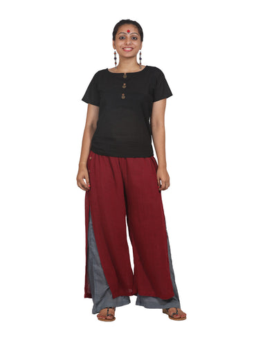 Bottom - Jute and Mul Overlap Pants - Prathaa