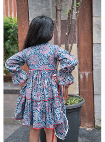 Kids Indigo Ajrakh Layered Dress
