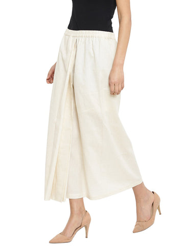 Off White Handloom Lungi Skirt With Bindi Motif Patch Pocket