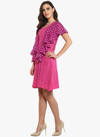 Dress - Pink Khesh Short Dress With Ruffles - Prathaa
