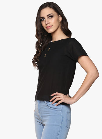 Black Handloom Cotton Short Sleeves Top