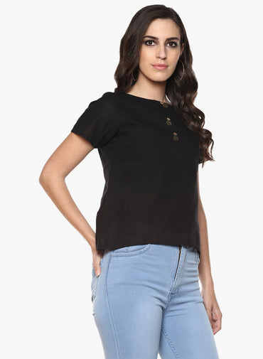 Top - Black Handloom Cotton Short Sleeves Top - Prathaa