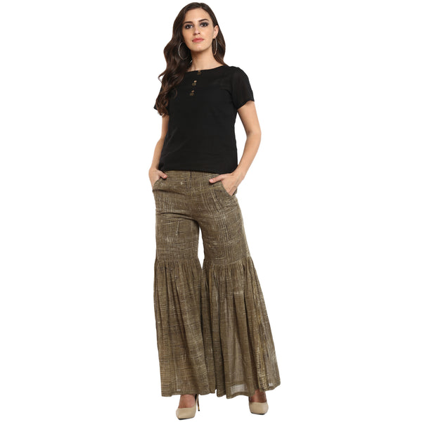 Bottom - Olive Green Mul Sharara - Prathaa