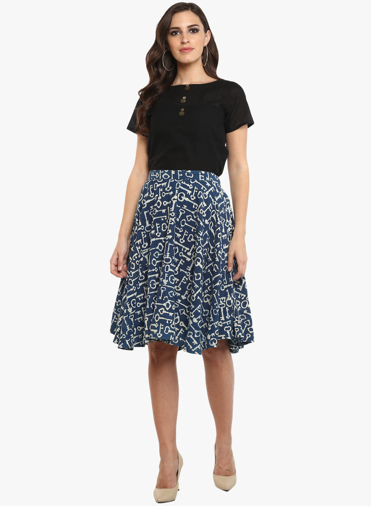Bottom - Indigo Printed Hand-loom Cotton Umbrella Skirt - Prathaa
