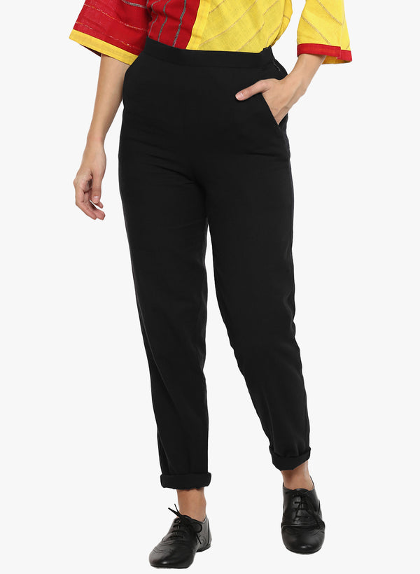 Bottom - Black khadi regular trouser - Prathaa
