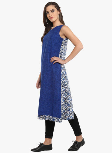 Tunic - Back slit tunic in three fabric - Prathaa