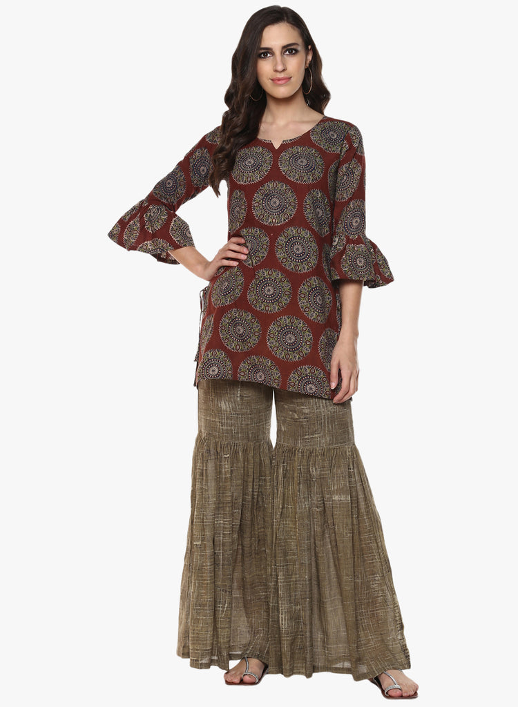 Tunic - Brown Block Print Tunic - Prathaa