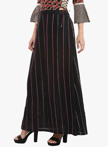 Bottom - Black Khesh Maxi Skirt - Prathaa