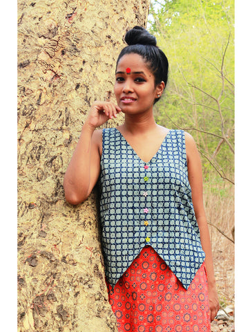 Top - Indigo Crop Top - Prathaa