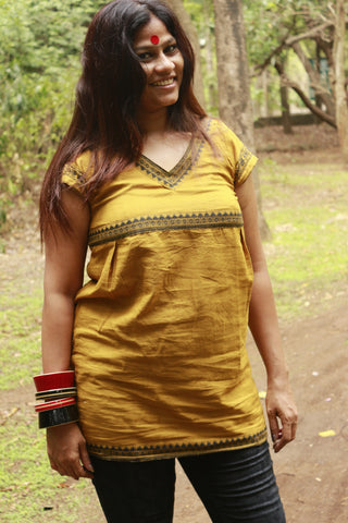 Top - Gamcha top mud color - Prathaa