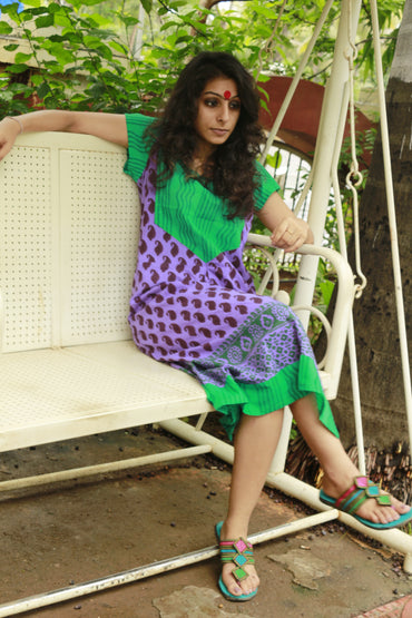 Dress - Purple Paisley Dress - Prathaa