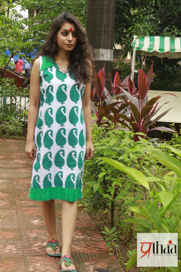 Dress - Green White Paisley Dress - Prathaa