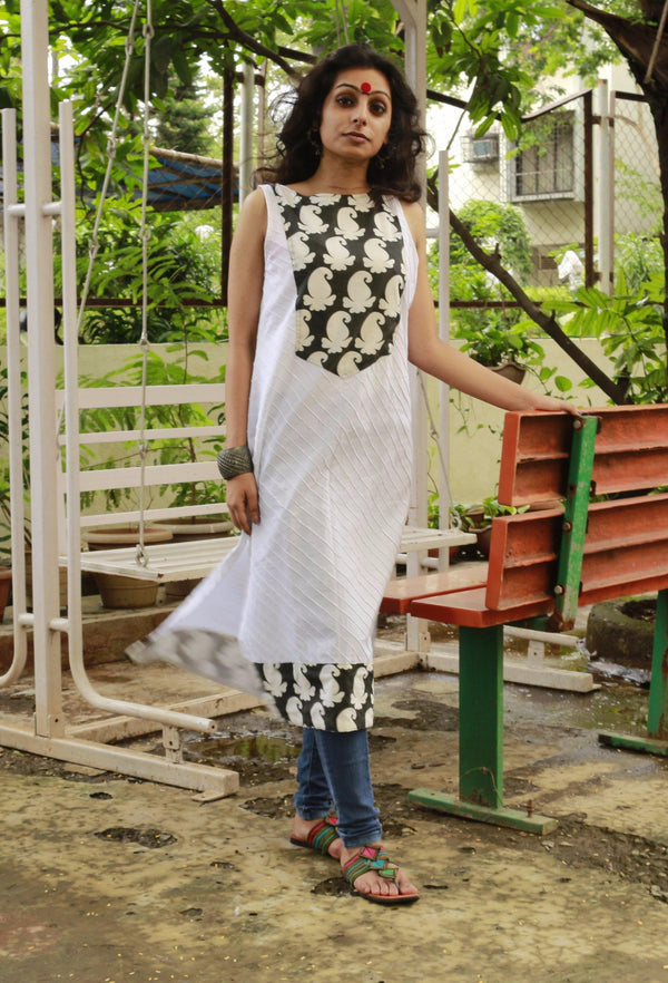 Tunic - Black & White asymmetrical tunic - Prathaa