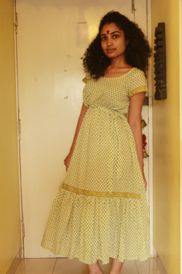 Dress - White And Green Printed Frill Dress - Prathaa
