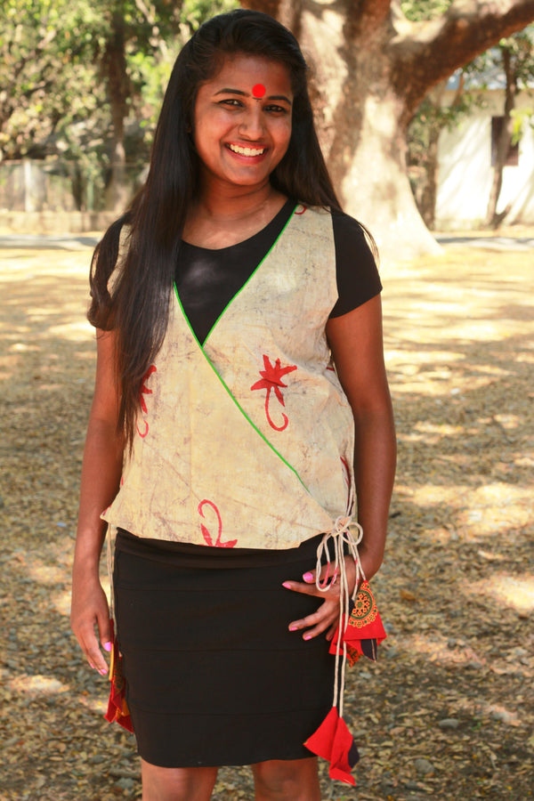 Top - Beige Wrap Top with green piping - Prathaa
