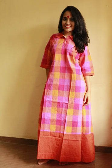 Dress - Check Collared Dress - Prathaa