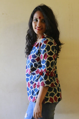 Dress - Indigo Ajrak Print Top - Prathaa