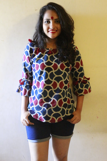 Dress - Indigo Scallop Print Top - Prathaa