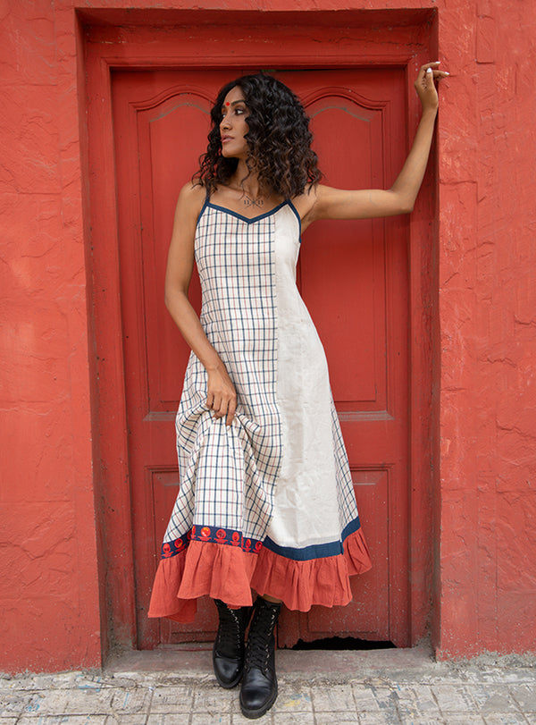 Malkha Kora and Checks Spaghetti Dress