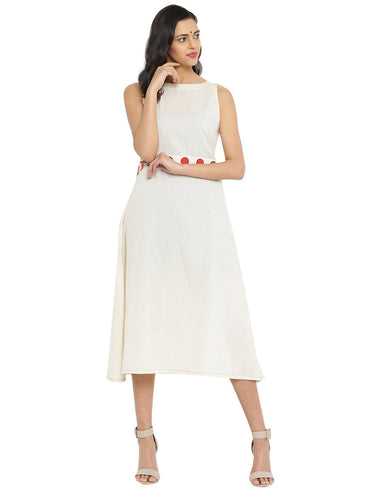 Midi Handloom Dress With Bindi Waist Belt