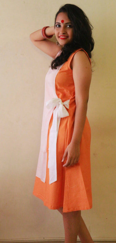 Dress - Orange with White Wrap Dress - Prathaa