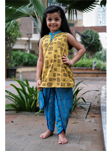 Kids Checks Hand Block Kurti and Dhoti Set