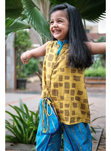 Kids Mustard Checks Kurti