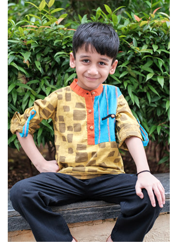 Kids Checks Hand block Short Kurta and Black Pants