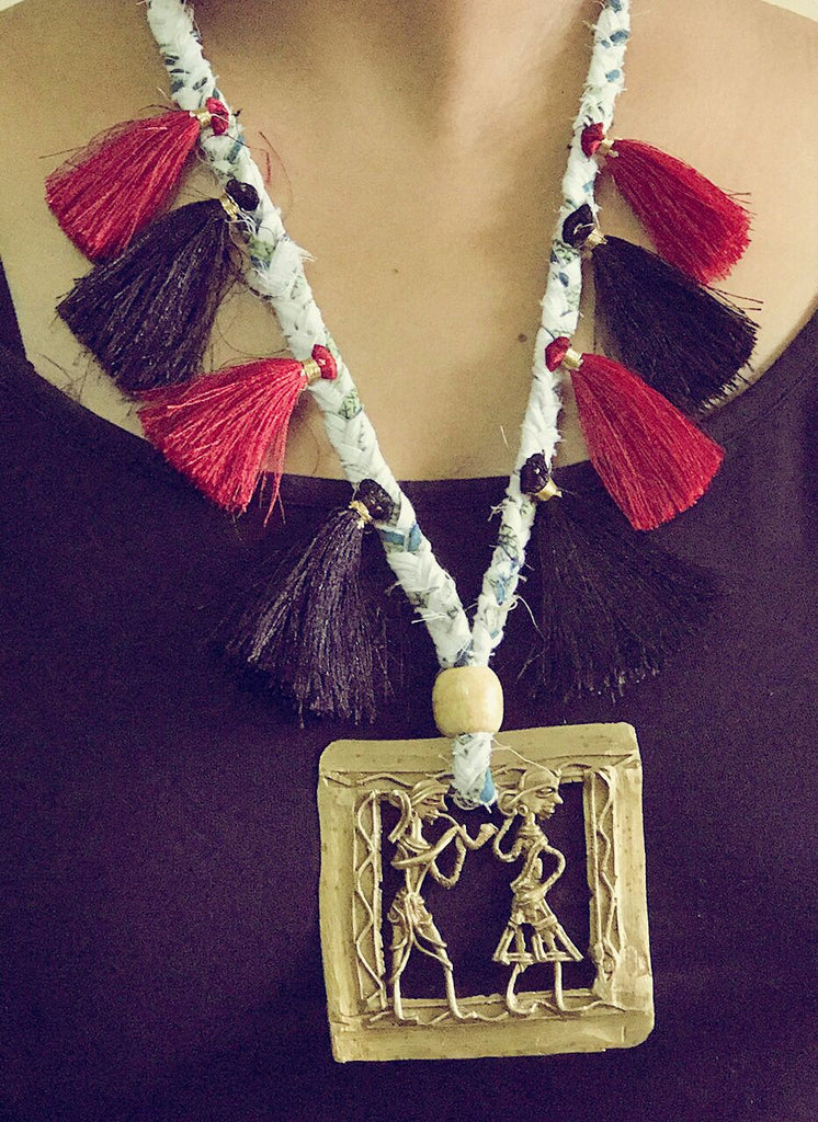 Accessory - Dhokra Neckpiece with a Square Pendant and Tassels - Prathaa