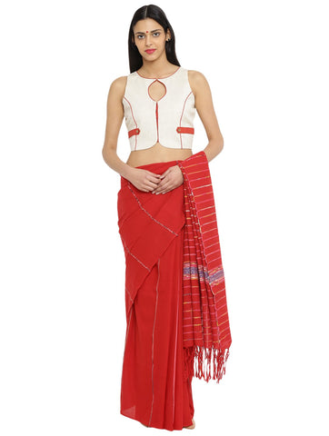 Off white Sleeveless Handloom Blouse With Patch Details