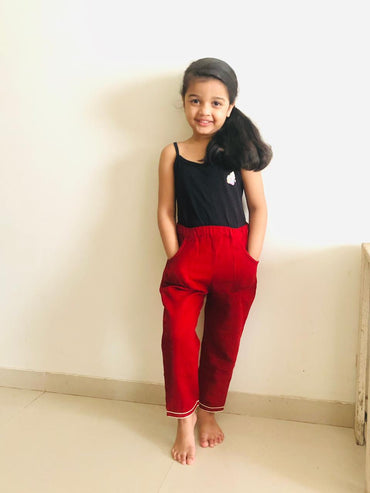 Kids Maroon Kala Cotton Straight Pants