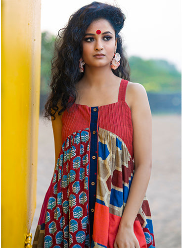Dress - Gathered Patchwork Dress - Prathaa