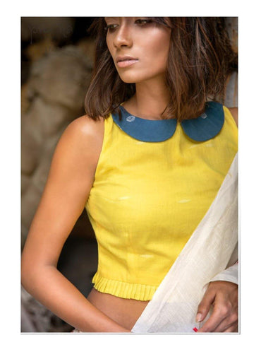 """Holud"" Jamdani Sleeveless Blouse"