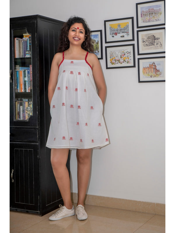 Dress - White Spaghetti Dress in Jamdani Fabric - Prathaa