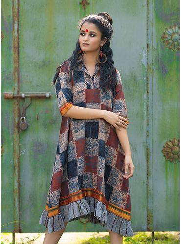 Ajrakh Print Loose Fit Dress