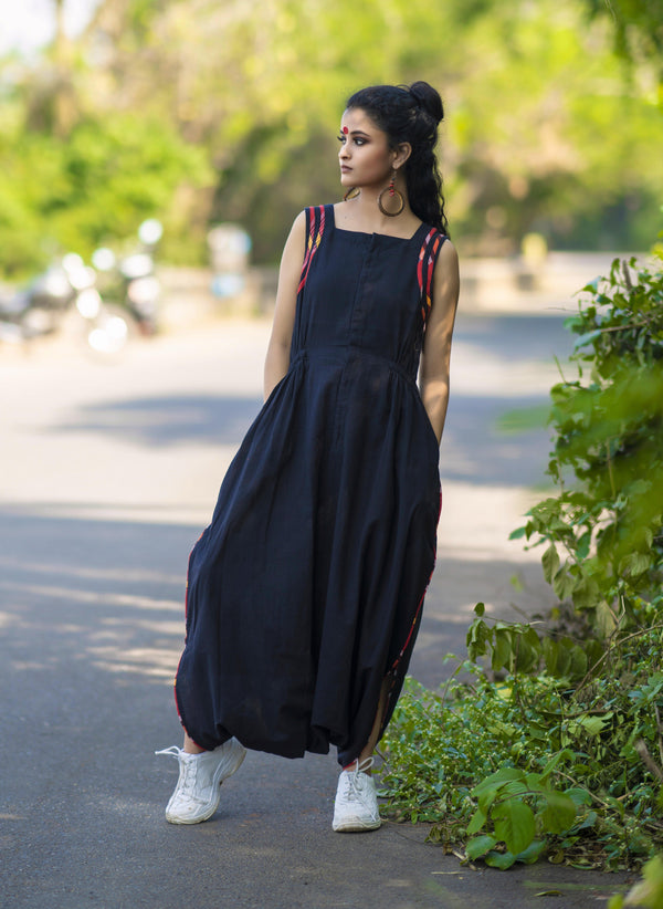 Black Handloom Jumpsuit with Gamcha detailing
