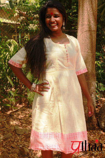 Dress - Red Border Off White Dress - Prathaa