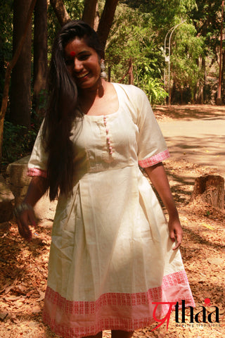 Dress - Off White Dress with Pink border - Prathaa