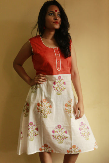 Dress - Mul Flower Printed Dress - Orange - Prathaa