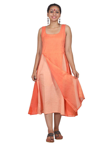 Dress - Peach Mul Dual Tone Dress - Prathaa