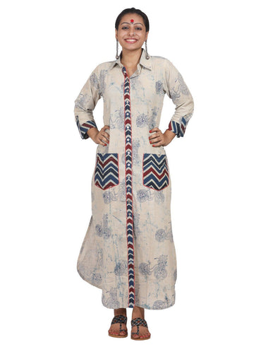 Dress - Cycle Print Shirt Dress - Prathaa