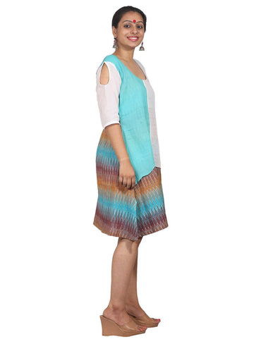 Dress - Turquoise Ikat Print Dress - Prathaa