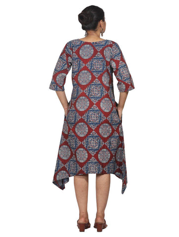 Dress - Ajrak/Mangalgiri Assymetrical Dress - Prathaa